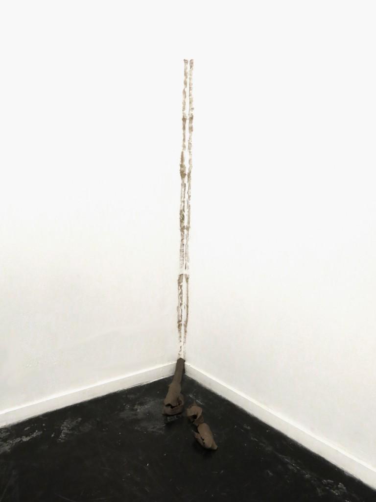 Untitled, black clay, 210x90x20cm, 2014