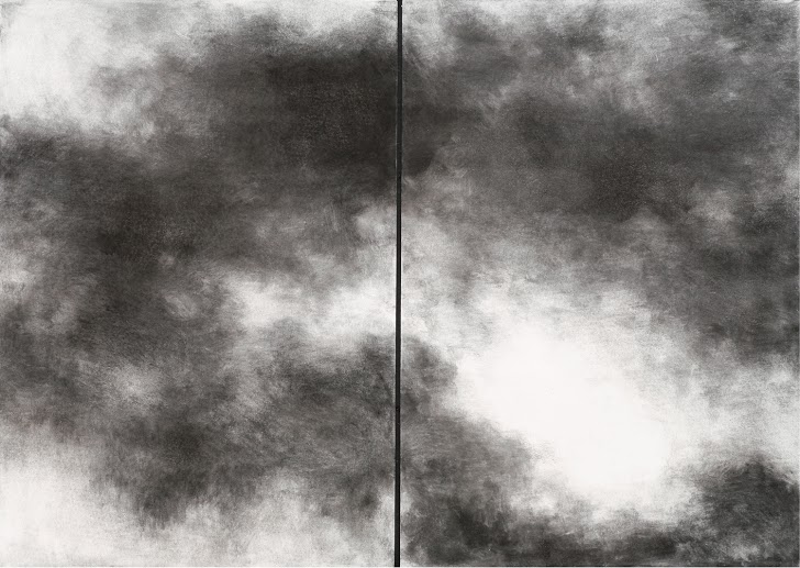 Ilana Hamawi, Sky Diptych, 2006, charcoal on paper, 100x140, Photo Ran Erde