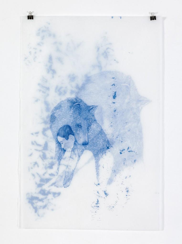 מורן קליגר, לפנות בוקר, 2016, מיצב רישומים, עט ודיו כחול על נייר יפני, 270X250 סמ