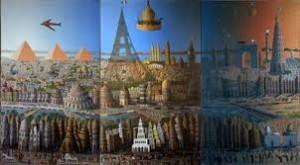 גבריאל כהן, ישראלי  מסביב לעולם ב-92 ימים, 1976 צבעי-שמן על בד