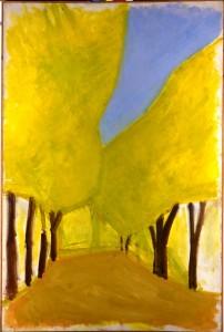 אורי רייזמן,  שדרת עצי חרוב, שנות ה-60 צבעי-שמן על בד