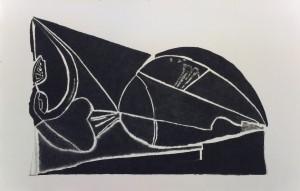 אירית חמו, ללא כותרת, בעקבות אהרון כהנא, 2016, פחם על נייר, 207,320 סמ